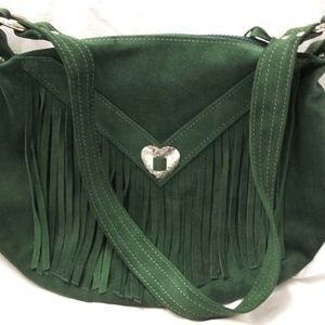 Handbags - Forest Green Suede Western Fringed Purse